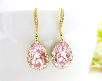 Bridal Blush Pink Teardrop Earrings Swarovski Rosaline Earrings Light Pink Earrings Bridesmaids Gift Wedding Jewelry Bridal Jewelry (E136)