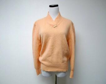 Sellecca . 80s orange lambswool angora blend sweater  . large