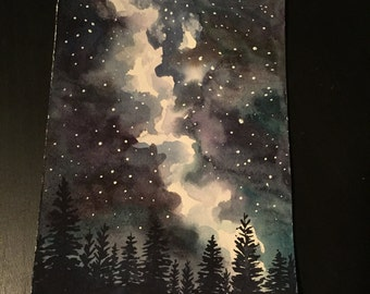 Night Sky Forest original watercolor painting
