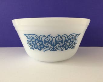 """Vintage Federal Glass 6"""" Mixing Bowl - Teal Bouquet"""