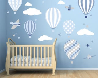 Baby boys wall stickers. Hot Air Balloon Decals. Planes white clouds and stars. Blue nursery decor Toddler Room up up and away & Baby boy wall decal | Etsy