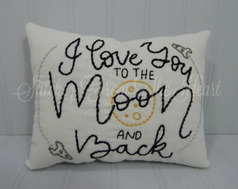 I Love You To The Moon And Back - Decorative Pillow - Nursery Decor - Space Decor - Rocketships - Moon - Nursery Pillow