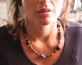 Ethnic necklace, wood, Cr...