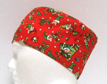 Christmas Mens Scrub Hat or Surgical Cap with Elves on Red