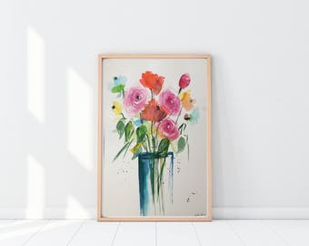 Original watercolor painting Flowers bouquet picture Art Watercolor flowers