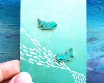 Whale Shark Enamel Stud Earrings
