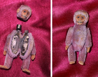 RARE!!! 1920s Makeup Compact / Mohair Purple MONKEY/ Removable Head / Body Opens! / Mirror Compact / SCHUCO Monkey