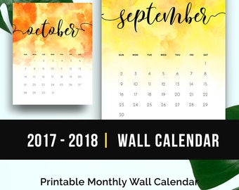 2018 Watercolor Calendar Monthly Printable 2017 2018 Printable Calendar PDF Wall Calendar Watercolor Monthly Calendar Printable Download
