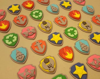Paw Patrol Badges Edible 3D Cupcake Toppers