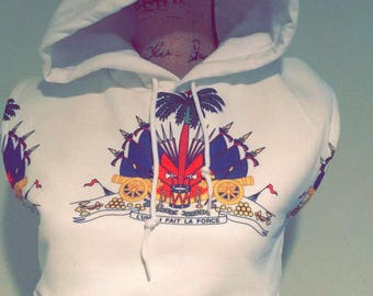 Coat of Arm crop top hoodie