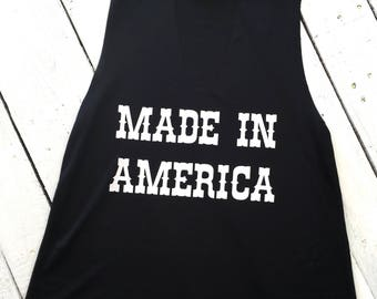 MADE IN AMERICA, cut neck tank, country music, country concert
