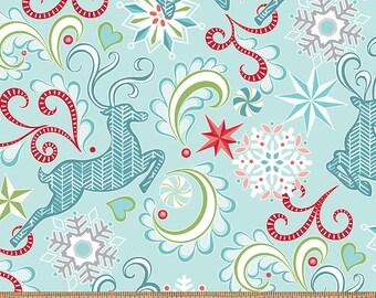 Nordic Holiday - Nordic Reindeer Light Blue - 1 yd