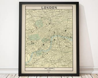 Old London Map Art Print 1901 Antique Map Archival Reproduction