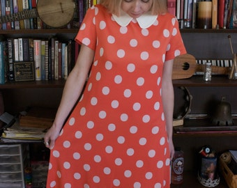 Vintage Kimberly Red and White Polka-dot Dress