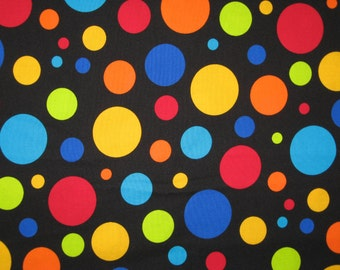 Timeless Treasures large dots on black 1 yard 25""