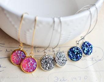 SALE!! 12 colors! Druzy Drop Earrings - druzy earwires - druzy earrings - drusy earrings - druzy jewlery
