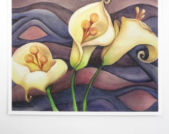 calla lily flower art print, surreal botanical watercolor, purple and white decor, 5x7 floral wall art
