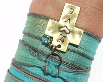 Love Cross Silk Wrap Bracelet Green Aqua Blue Yoga Jewelry Bohemian Mothers Day Birthday Unique Gift For Her Under 50 Item V1