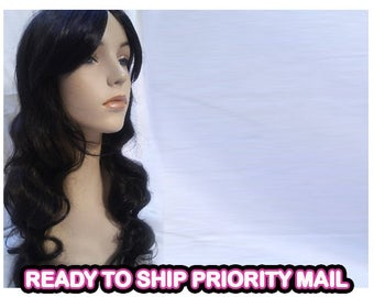 Synthetic wig brunette dark brown hair wavy curly Layered cosplay holloween