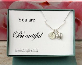 You are Beautiful jewelry gift box sterling silver love necklace gift for daughter, wife, girlfriend, grandma, granddaughter, anniversary