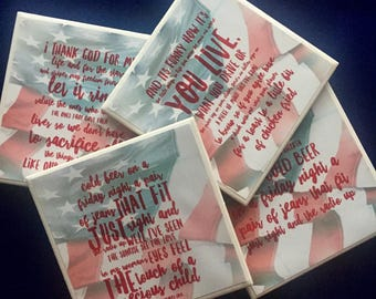 Zac Brown Band Chicken Fried lyrics on coasters-ZBB-hostess gift-birthday gifts-coasters-country music lover coasters-flag-song lyrics art