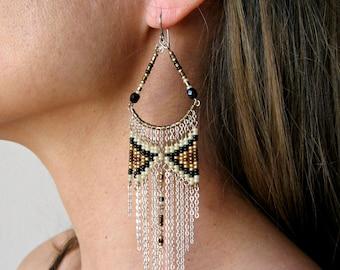 Santa Fe Beaded Earrings ~ Long Bohemian Beaded Earrings ~ Gypsy Jewelry