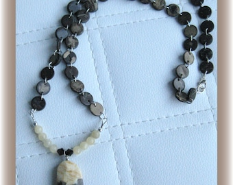 Feldspar gemstone long necklace