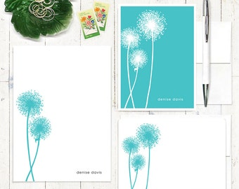 complete personalized stationery set - DANDELION - personalized stationary - note cards - notepad - choose color