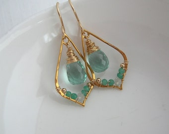 Green Amethyst Chandelier Earrings