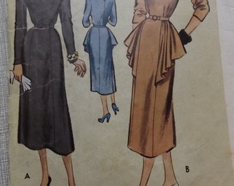 Misses' Dress with Skirt Drapery in  Size 14 Bust 32 All 16 Uncut Pieces 1950s Vintage McCall Sewing Pattern 8240 Complete 3 Sleeve Options