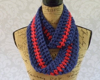 Ready To Ship Infinity Scarf Crochet Knit Winter Royal Blue and Red Striped Scarf Women's Accessories Eternity Fall Winter