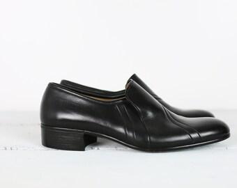 VINTAGE 70s Rovigo black leather slip on oxfords