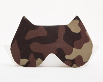 Cat Sleep Mask, Green Army Camouflage Sleep Mask, Cat Eye Mask, Travel Accessories, Pajama Party Favor, Kids Eye Mask, Cat Lover Gift