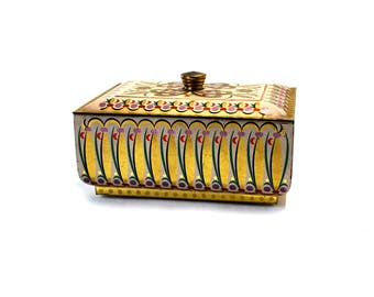 Western Germany Tin Container Box For Your What Nots Pink Gold Purple