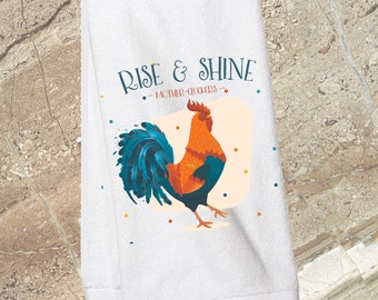 Rise and Shine, Mother-Cluckers/kitchen towel/funny kitchen towel/rooster/Chicken/Farmhouse/Farm Kitchen/bridal shower/mother's day gift