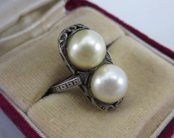 Art Deco Pearl Ring - Sterling Silver Rings for Women June Birthstone Jewelry