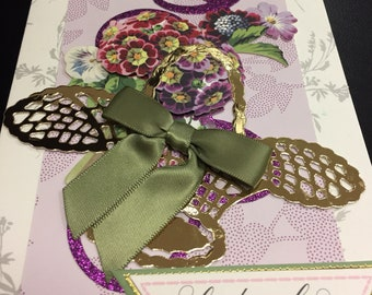 Handmade Anna Griffin Floral Greeting Card Best Wishes
