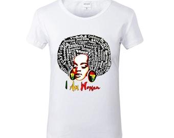 I AM WOMAN White Crew Neck Tshirt