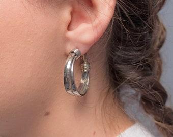Double-Hoop Earrings / Sculptural Hoop Earrings / Minimal Earrings / 80s Hoop Earrings / Costume Jewelry
