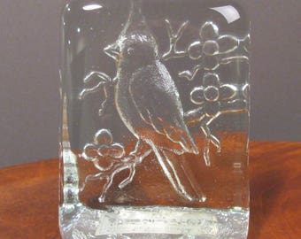 Etched clear glass cardinal paperweight