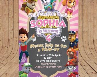 Personalised Paw Patrol Girls Birthday Party Invitation DIGITAL You Print