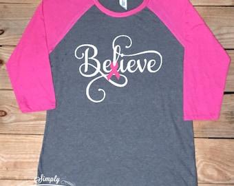 Believe, Survivor, Breast cancer awareness, breast cancer shirt, women's shirt, gift idea, breast cancer survivor