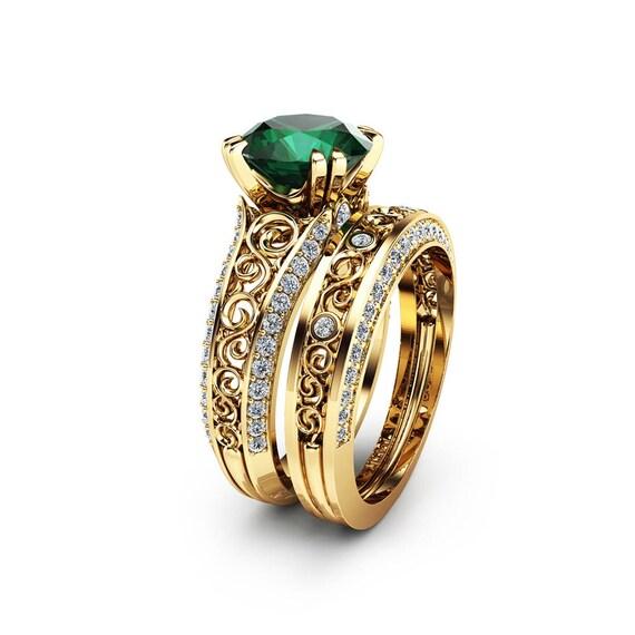 2 Carat Emerald Engagement Ring Set Unique 14K Yellow Gold