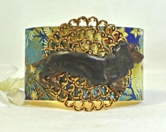 Doxie Cuff Bracelet Snickers - Dachshund Bracelet - Wienie Dog - Doxie Bracelet -Dog Lover Gift -Dachshund Cuff -Dog Jewelry -Animal Jewelry