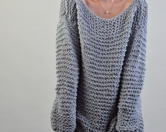 Simple is the best - Hand knit woman sweater Eco cotton oversized light grey - ready to ship