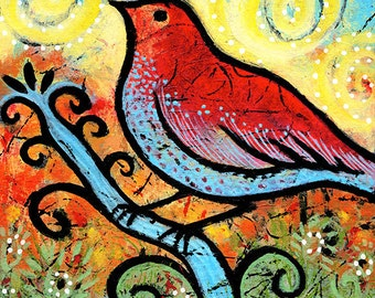 "Small Whimsical Bird Print 8"" x 8"" -  She Felt the Sun Beaming by Lindy Gaskill"