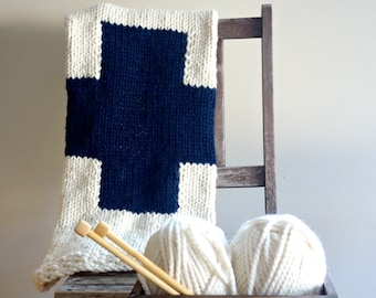 Swiss Cross Baby Blanket, Plus Sign Blanket, Modern Blanket // Fisherman and Navy // Ready To Ship //