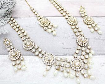 Gorgeous Gold Silver Layered Mala Pearl Kundan Necklace, Earrings & Tikka Bridal Wedding Jewellery Set