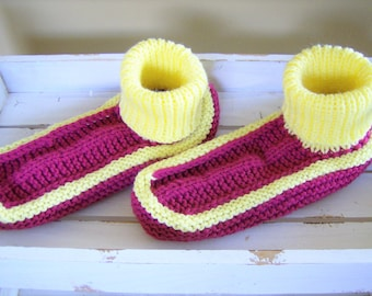 Knitted adult/teen stretchy yarn sock slippers - maroon/yellow adult booties - cozy house slippers - cozy house socks - maroon/yellow socks