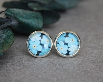 Blue Floral Earrings, Blue Stud Earrings, Blue Flower Earrings, Light Blue Earrings, Blue Post Earrings, Navy Blue Earrings 10MM